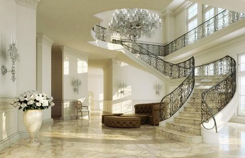 Белая лестница в интерьере
